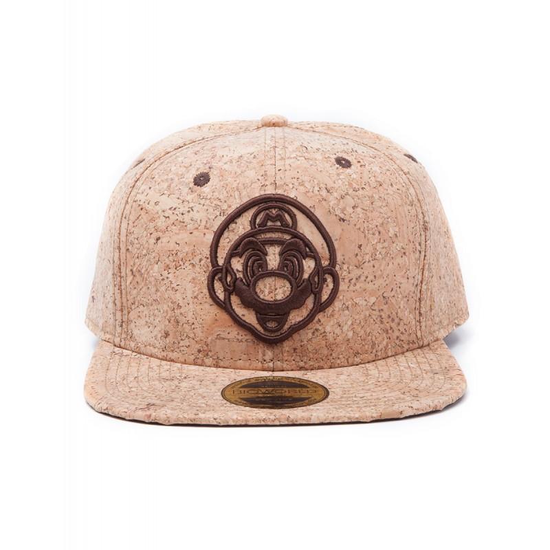 Oryginalna czapka wykonana z kory dębu korkowego z motywem Mario. Daszek  typu snapback. Must have dla fanów